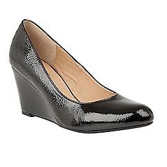 Lotus - Black 'Blaise' wedge heel court shoes