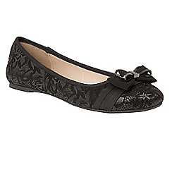 Lotus - Black 'Peaky' flat ballet pumps