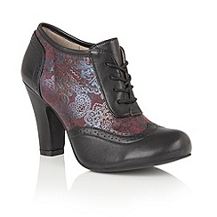 Lotus - Black leather 'Kale' lace up shoe boots