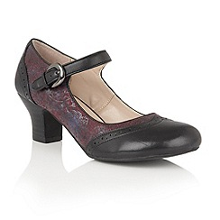 Lotus - Black leather 'Laleh' mary jane courts