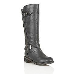 Lotus - Black 'Kiln' knee high boots