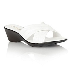 Lotus - White 'Mercia' open toe sandals