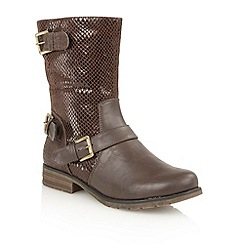 Lotus - Brown print 'Cali' calf boots
