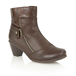 Lotus - Brown print 'Sherman' ankle boots