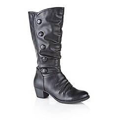 Lotus - Black 'Calathea' knee high boots