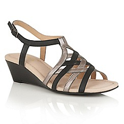 Lotus - Black pewter strappy 'Ambra' wedge sandals