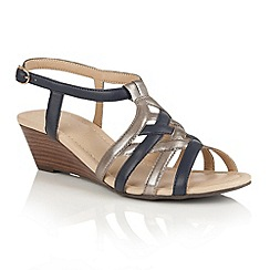 Lotus - Navy pewter strappy 'Ambra' wedge sandals