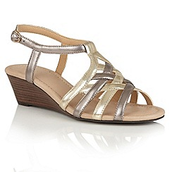Lotus - Pewter light gold strappy 'Ambra' wedge sandals