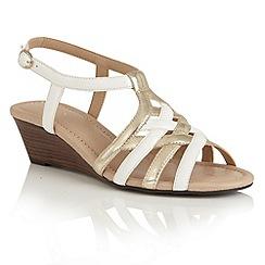 Lotus - White platino strappy 'Ambra' wedge sandals