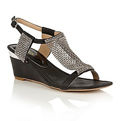Lotus - Black shimmer 'Klaudia' wedge sandals