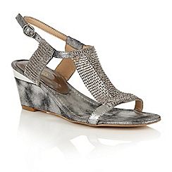 Lotus - Pewter shimmer 'Klaudia' wedge sandals
