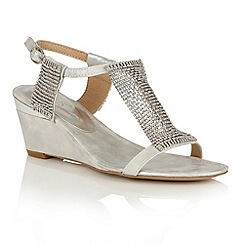 Lotus - Silver shimmer 'Klaudia' wedge sandals