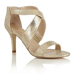 Lotus - Gold reptile print 'Brasc' sandals