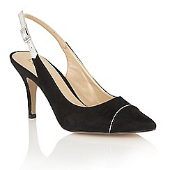 Lotus - Black 'Elady' pointed toe sling back courts