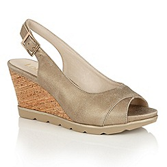 Lotus - Gold 'Elaine-UK' open toe wedge sandals
