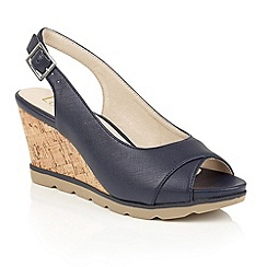 Lotus - Navy 'Elaine-UK' open toe wedge sandals