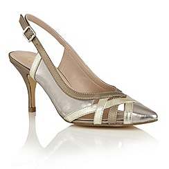 Lotus - Pewter gold 'Horrigan' sling back courts