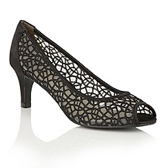 Lotus - Black satin mesh 'Weronika' peep toe courts