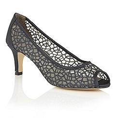 Lotus - Navy satin mesh 'Weronika' peep toe courts