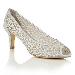 Lotus - Silver satin mesh 'Weronika' peep toe courts
