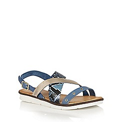 Lotus - Blue snake leather 'Anidori' flat sandals