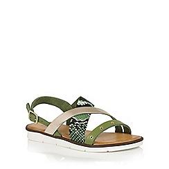 Lotus - Green snake leather 'Anidori' flat sandals