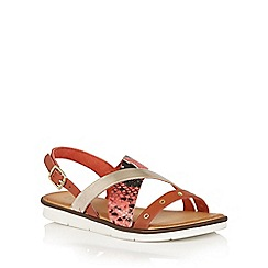 Lotus - Red snake leather 'Anidori' flat sandals