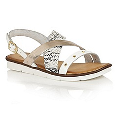 Lotus - White snake leather 'Anidori' flat sandals