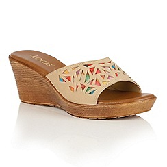 Lotus - Beige multi 'Poppsy' wedge sandals