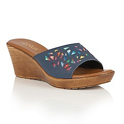 Lotus - Navy multi 'Poppsy' wedge sandals