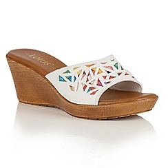 Lotus - White multi 'Poppsy' wedge sandals