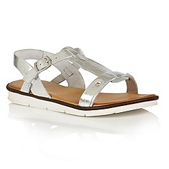 Lotus - Silver leather 'Aerin' flat sandals