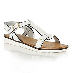 Lotus - White leather 'Aerin' flat sandals