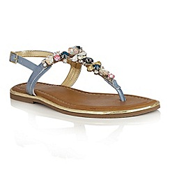 Lotus - Blue patent leather 'Enrica' toe post sandals