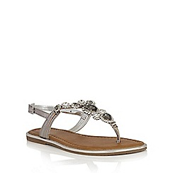 Lotus - Pewter leather 'Enrica' toe post sandals