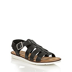 Lotus - Black leather 'Dotterine-UK' open toe sandals