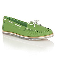 Lotus - Green leather 'Ismay' moccasins