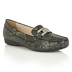 Lotus - Black print 'Alice-UK' loafers