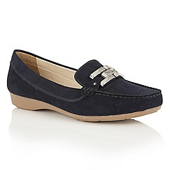 Lotus - Navy microfibre 'Alice-UK' loafers