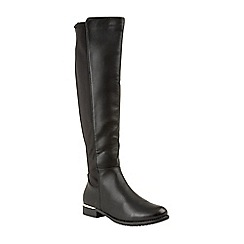 Lotus - Black 'Elouise' flat block heel knee high boots