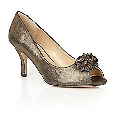 Lotus - Gold 'Quill' peep toe shoes