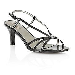 Lotus - Black shiny 'Carmelina' open toe shoes
