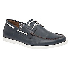 Lotus Since 1759 - Navy leather 'Holbrook' boat shoes