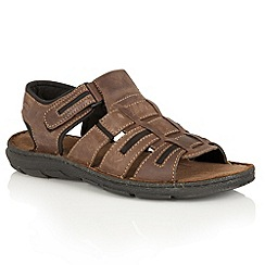 Lotus Since 1759 - Brown leather 'Hugh' rip tape sandals