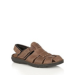 Lotus Since 1759 - Brown leather 'Russel' rip tape sandals