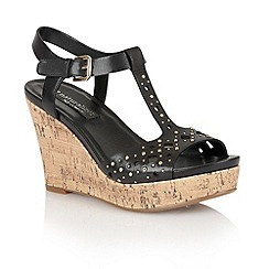 Naturalizer - Black leather 'Riley' open toe wedges