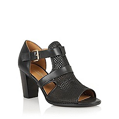 Naturalizer - Black leather 'Draft' laser cut sandals