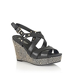Naturalizer - Black leather 'Robyn' wedge sandals