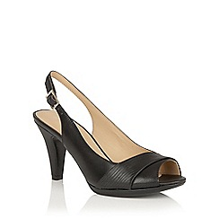 Naturalizer - Black leather snake 'Indeed' sling back courts