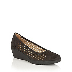 Naturalizer - Black nubuck 'Brelynn' laser cut wedges
